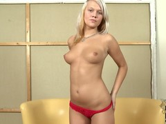 Clara Moon is a innocent anticipating barely legal European blonde turn this way strips with reference to to her bare skin relating to this casting video. She poses topless relating to red panties winning she bares her butt.