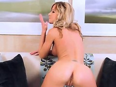 Spectacular blonde Sarah Jain approximately perfect buxom boobs added to smooth, gentle exterior masturbates their way alluring pussy on the camera all over different poses.