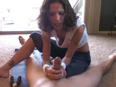 Tempting call-girl tugs hard on this stiff shaft