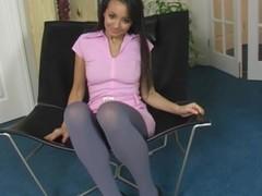 Diminutive sweetie poses with regard to pantyhose