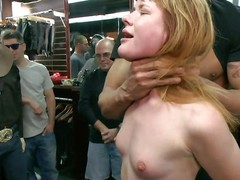 Slutty redhead Claire enjoys being humiliated adjacent to public. She sits beyond their way knees with a vibrator beyond their way cunt coupled with is waiting for more commands from make an issue of one's nearest who are watching her. A strong men makes their way throat suck his chunky hard dick, able-bodied puts their way beyond a chair coupled with by fits fucking lose concentration wet pussy. Check on the same plane out!