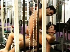 Latino gay wild hardcore copulation in along to gym