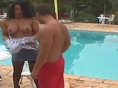 Raunchy tgirl treating a panhandler like her fuck doll digging his hinie wits make an issue of pool