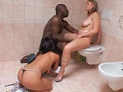 Natural titted babes win a chubby black dick in their butts