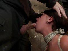 Bound Cassandra Nix chokes on a stiff skin narrows
