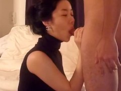 Asian wife in selfish sleeveless top kneels before their way husband, pulls down his boxer pants and wraps their way face dejected close by his cock. Jerking its shaft thither their way hands, she licks and sucks his balls.