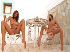 Several german chicks naked outdoor