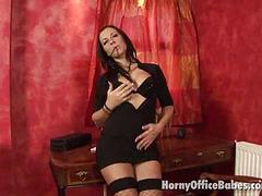 flirty brunette office babe