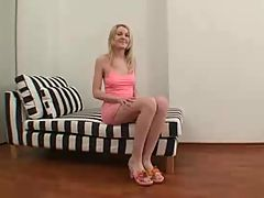 Petite blonde takes anal and facial