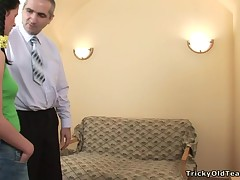 Sweet darling is receiving horny lessons from old instructor