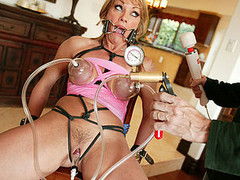 Shayla Laveaux takes time away from her family to go off and fulfill her dreams as a total fucking whore! This breasty blond and sexually thrived mother I'd like to fuck has an urgency to satisfy her thraldom curiosity. We strap in a spider gag in her mouth and tie her up with black rope, busting out her huge pointer sisters and begging for more, we hooked up those hard nipples to a hardly any sucction hoses and pumped up the pressure on her clitoris. This Babe squirms and shakes and gets a huge load in her mouth after getting fastened up and fucked hard...