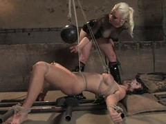 B. Hills enjoys being bound coupled with racking in BDSM clip with Lorelei Lee