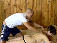 Mature little one enjoys rub down and gets fucked in a sauna