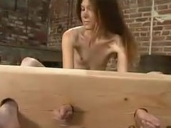 Skinny Ashley gets covered with wax and pushed