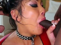 Hot asian babe mya sucks a huge cock and later swallows it unreduced in a deepthroat.