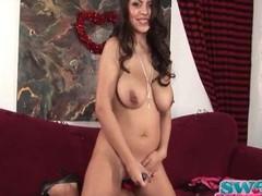 Yurizan Beltran fondles her broad in the beam blue tits