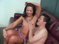 Asian guy licks their way armpits with passion