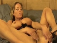 Unaccompanied pussy toying with busty blonde mom