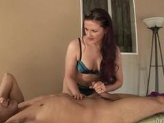 Sizzling Caroline Pierce tosses off this throbbing dick