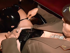 Strange mistress puts a plug in her precede b approach slaves pain in the neck