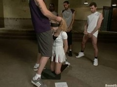 This discouraging bitch gets tied up and throat drilled