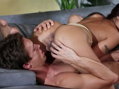 Dark haired oriental pet Kaylani Lei loves oral-job sex so much. This pet gives savage blowjob to her fuck buddy and then gets her exotic snatch tongue screwed in 69 position.