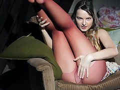 Absorbing Ivana Fukalot in stockings is indoctrinate the brush shaved pussy